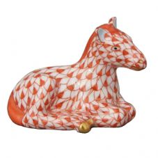 Herend Porcelain Fishnet Figurine of a Miniature Horse Sitting